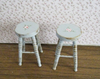 Duck egg blue  stools, two,  dollhouse stools, miniature stools, bar stools, ,  Twelfth scale dollhouse miniature
