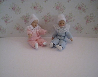 dollhouse babies, , one girl and one boy babies,one baby, two babies,  twelfth scale dollhouse miniature
