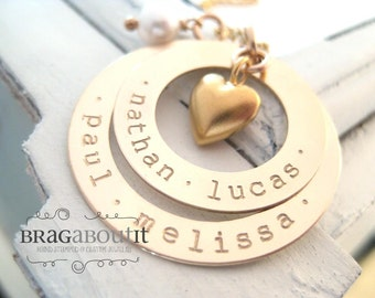 Hand Stamped Jewelry Necklace - Hand Stamped Personalized Jewelry - Brag About It - 14K Gold Filled Personalized Jewelry - Double The Love