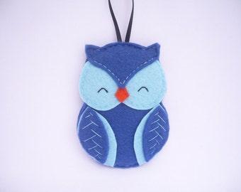 Owl felt Christmas ornament - blue felt decoration - wall decor