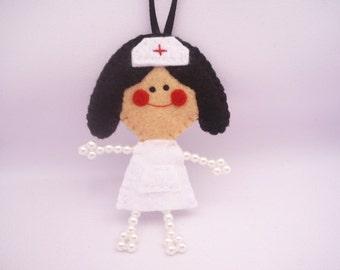 Nurse ornament - Christmas ornament - Brunette nurse doll ornament -  Doll felt ornament - Gift for her