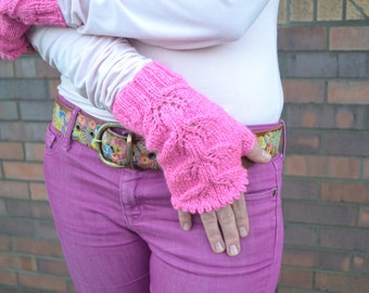 Knit Mittens Fingerless Gloves Hand arm Warmers pink lurex acrylic