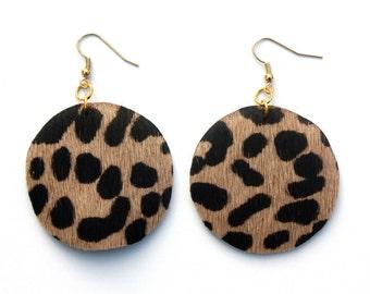 LAST PAIR - Leather Earrings - Cheetah Print Calf Hair with Gold Nickel Free Ear Wires