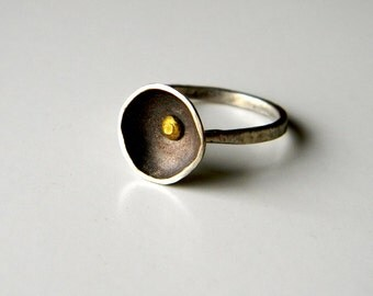 Simple Rustic Silver Bowl Ring - Size 5