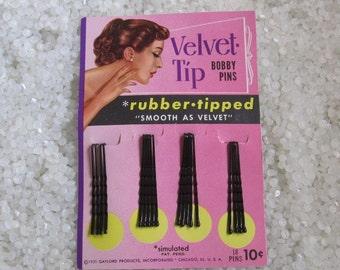 Vintage Bobbie pins, Velvet tip, Gaylord date 1951