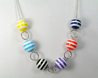 Bocce Ball Necklace - Long Necklace - Vintage Beads - Lucite - Colorful - Stripes - Black - Blue - Red - Purple