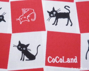 CoCoLand Fabric - Check Cats on Red - Fat Quarter - (no140127)