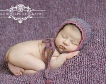 Soft Lavender, Pink & Blue Blend Quilt Stitch Newborn Dome Back Bonnet with Braided Ties in Lightweight Brushed Wool