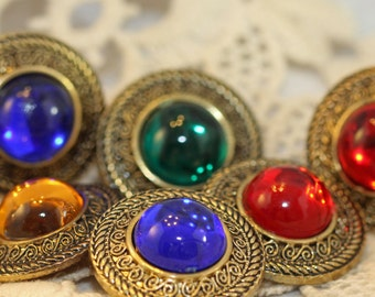 Mod Faux Royal Jewels Oversized Vintage Shank Buttons (7) 26 mm