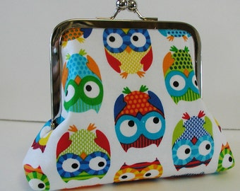 Frame Purse, Large Coin Purse, Large Change Purse, Cosmetic Pouch.. Bright Owls in White