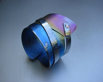 Anodized Titanium Cuff Bracelet, Rainbow Bracelet,one of a kind Design by Modernart999 metalsmith  studio Canada BC