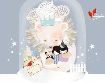 LARGE Animal Lion Baby Nursery Art - The Sleepy Snow