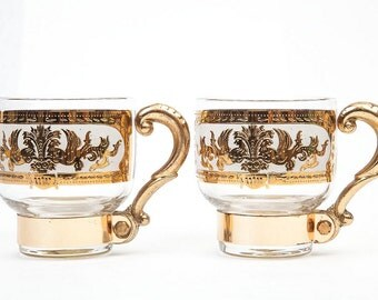 Two Vintage Gold Luster Glasses with Metal Handle