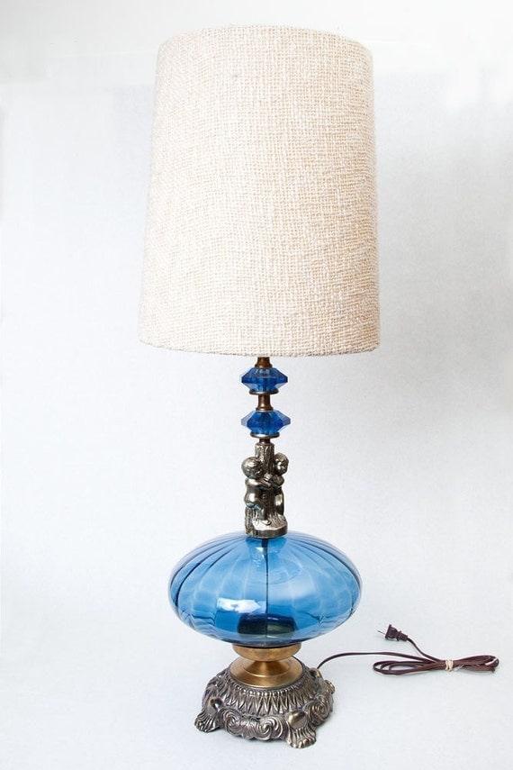 vintage ef ef industries blue glass lamp with cherubs. Black Bedroom Furniture Sets. Home Design Ideas