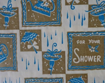 Vintage Shower Theme Gift Wrap--For Your Shower in Turquoise and Gold--One Sheet