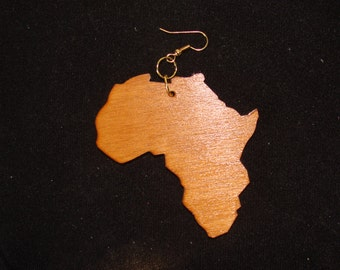 Oak Finish  Africa Shaped Earrings