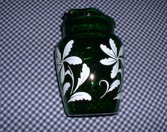 Vintage Hawaiian Floral Emerald Green Pitcher