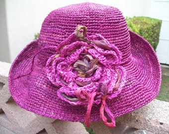 Magenta Small Brimmed Crocheted Hat with Hand Dyed Silk Sari Fabric Bits