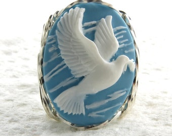 Aqua Peace Dove Cameo Ring Sterling Silver Artisan Jewelry