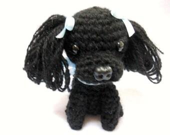 Small Black Poodle Crochet Dog, Amigurumi ,Canine, Stuffed Dog, Stuffed Animal, Dog Lover