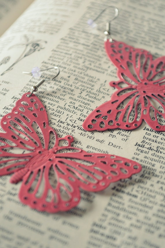 Large Cotton Candy Pink Butterfly Metal Filigree Boho Earrings Dangle Dangly Lacy Lace Bohemian Hippie Chic