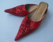 Red Leather Flats Pointy Toe Sequin Hearts Slip ons 9 - 10 Valentines Day