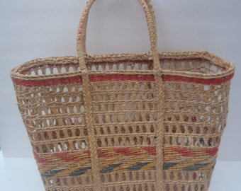 Vintage Straw Tote Bag natural red yellow green