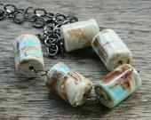 Porcelain Necklace - Marble, Beige, Blue, Brown, Cream, Mix of Colors, Turquoise, Tribal, Rustic, Aqua, Summer, Autumn, Jewelry Neckalces