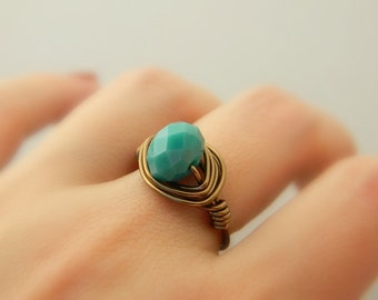 Green Teal RING . Size 7.5 - Teal Rondelle - Green, Brass, Otter Brown, Dark, Ocean, Rustic, Winter, Brown, Fall, Jewelry Rings, Cocktail