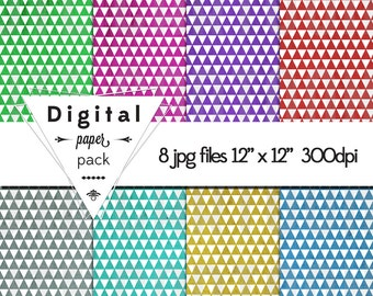 Triangle Tron Techno Geometric  Paper Pack 8 Printable Digital Scrapbooking Papers - 12 x 12 - 300 DPI - INSTANT DOWNLOAD