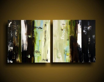 Large Abstract Painting Modern Painting Wall Art Modern Original Contemporary Painting 24 x 48. Mustard Green Black Blue