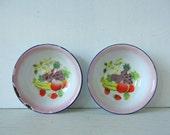 2 Vintage Enamelware Bowls Strawberries Fruit Motif Bumper Harvest