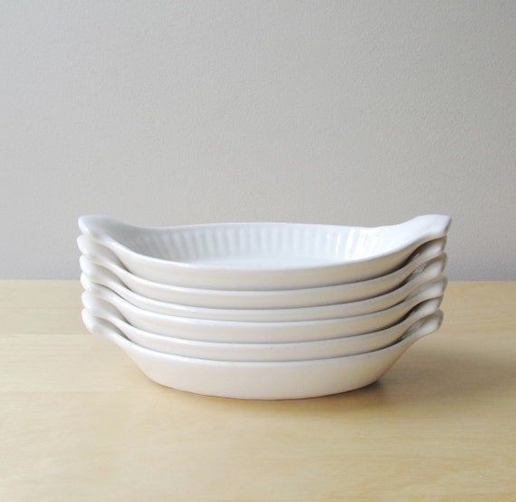 Individual White Casserole Dishes Vintage California By