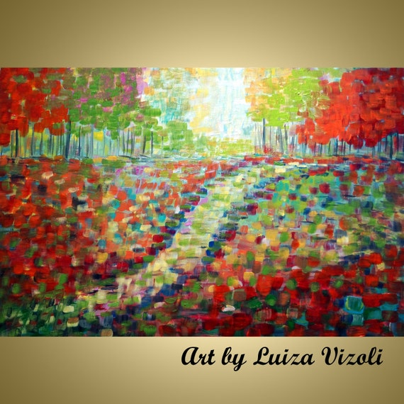 Original Oil Painting Trees Landscape Abstract Art SUMMER to FALL by Luiza Vizoli