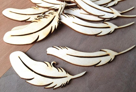 Pieces craft wood shapes feather quills