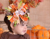 Fall Thanksgiving Orange Green Brown Pumpkin Silver Bling Princess Crown Over The Top Boutique Hair Bow on matching Headband