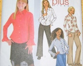Butterick 4015 - Girls / Girls Plus Collared Long Sleeve Blouse, Lined Skirt and Slightly Flared Pants.  Sizes 10 1/2, 12 1/2, 14 1/2, 16