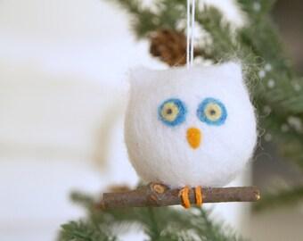 Owl Christmas Ornament, Needle Felted Wool, Natural, Eco Friendly, Woodland Barn Owl, Snow White Felt, Turquoise Blue Bird, Cute, Wood