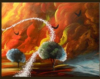 art painting surreal impressionist abstract original painting acrylic cloud stars tree painting sunset 16 x 20 Mattsart