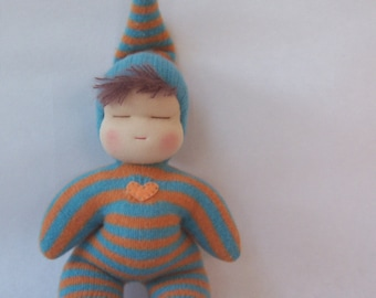 Sweetheart Baby - Waldorf Doll - Aqua and Orange Stripes