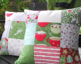 Decorative Christmas Pillow Cover Pair 14x14 MODA In from the Cold by Kate Spain