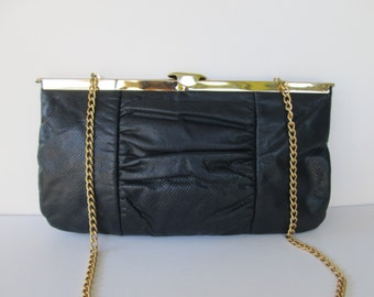 Navy Chain Shoulder or Clutch Bag