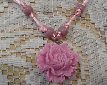Pink Rose necklace dusty pink resin rose glass beads