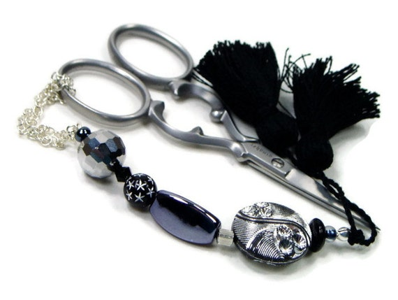 Beaded  Scissor Fob, DIY Crafts, Cross Stitch, Needlepoint ,Sewing, Quilting, Gift, Black, Silver, TJBdesigns