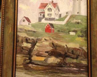 Original oil painting on wood, York, Maine, Nubble  Lighthouse , Light House