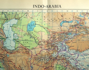 Vintage Map of India - Afghanistan - Kazakhstan - Iran - Indo-Arabia - 1958 Large Map