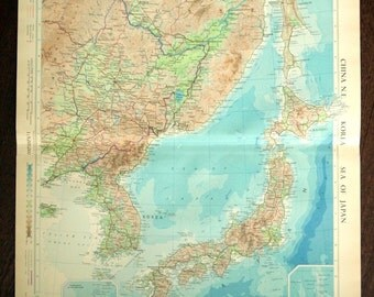 Large Vintage Map of Northeast China, Korea, and the Sea of Japan. From 1958 Atlas.