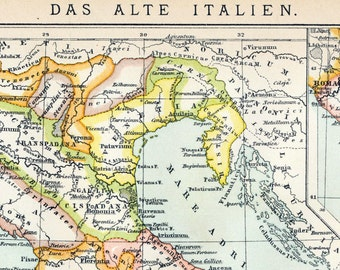 1894 Antique Map of Ancient Italy - Italy Antique Map - Antique Italy Map