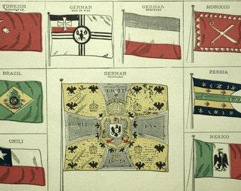 1883 Antique Print of Flags - Antique Print of Flags - Antique Flag Print - Flags Antique Print