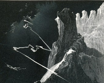 1900 Antique Engraving of the Crags of the Matterhorn during a Midnight Storm